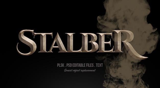 Stalber 3d tekststijleffect mockup met rook
