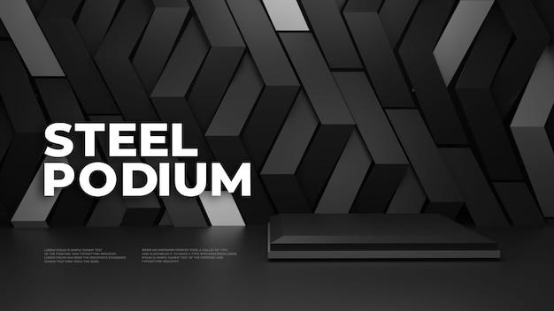Stalen siver pattern podium product display Gratis Psd