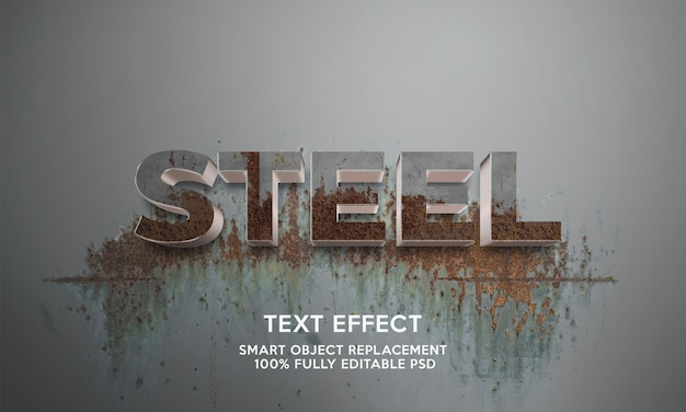 Stalen teksteffectsjabloon