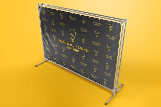 Stampa banner da parete con mockup di telaio metallico