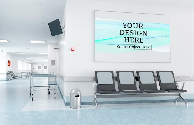 Stampa incorniciata nel modello di sala d'attesa dell'ospedale