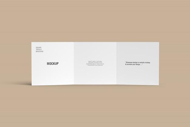 Stand square driebladige brochure mockup