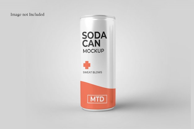Standing soda can mockup