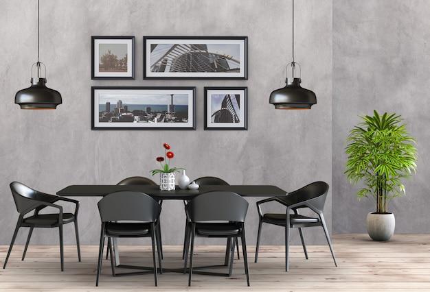 Stanza moderna interna della sala da pranzo in stile minimal. rendering 3d