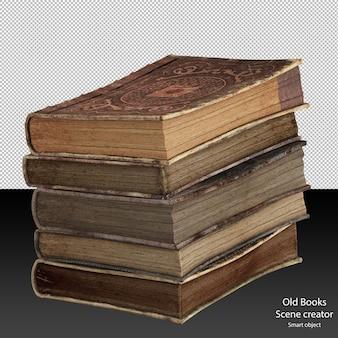 Stapel oude boeken geïsoleerde oude boeken vintage lederen boeken in een stapel geïsoleerd