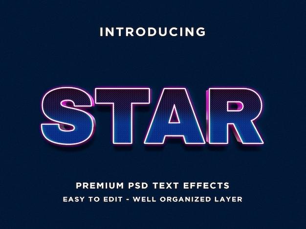 Star - 3d blauwe teksteffect psd
