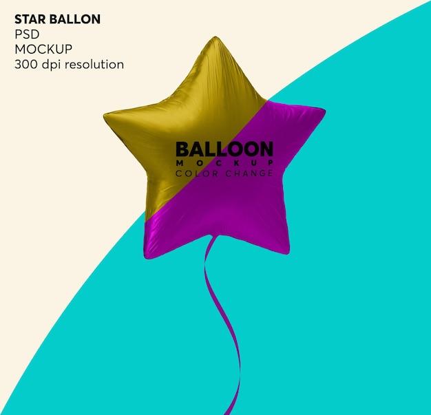Star foil helium balloon mockup geïsoleerd