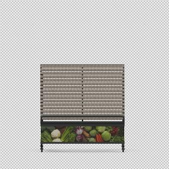 Stare per frutta e verdura rendering 3d