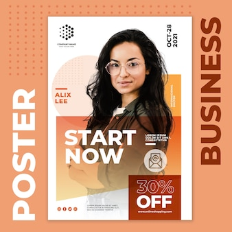 Start nu zakelijke poster sjabloon