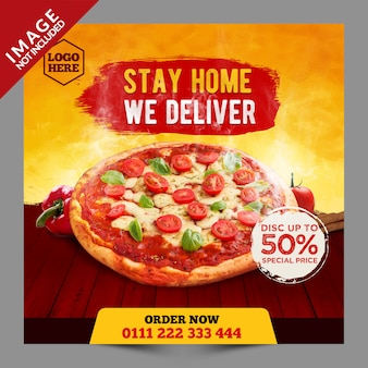 Stay home we delivery promoción de pizza