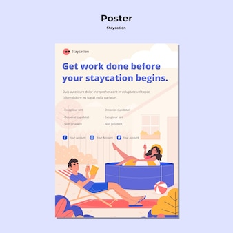 Staycation concept poster stijl