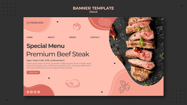 Steak banner sjabloon thema