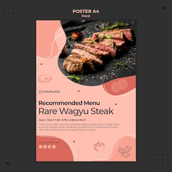 Steak poster sjabloon thema