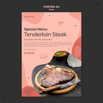 Steak poster sjabloonontwerp