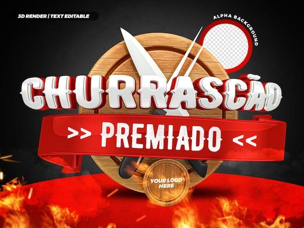 Steakhouse 3d bekroond barbecuelabel braziliaans campagneontwerp