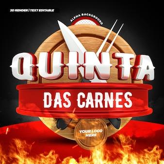 Steakhouse donderdag vleesaanbieding 3d label braziliaans campagneontwerp