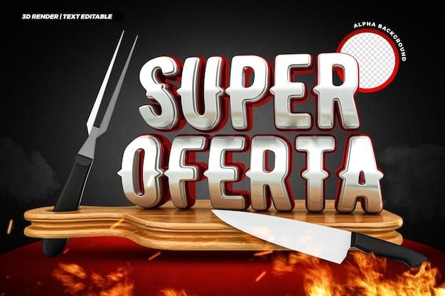Steakhouse superaanbieding 3d-label braziliaans campagneontwerp