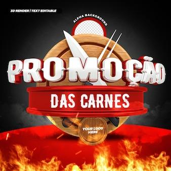 Steakhouse vleesaanbieding 3d-label braziliaans campagneontwerp