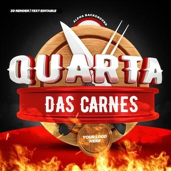 Steakhouse woensdag vleesaanbieding 3d label braziliaans campagneontwerp