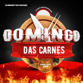 Steakhouse zondag vleesaanbieding 3d label braziliaans campagneontwerp