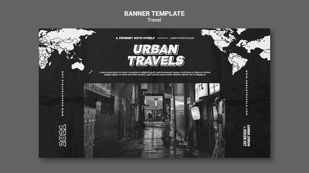 Stedelijke reizen banner sjabloonontwerp