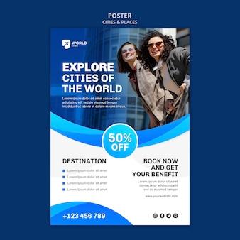 Steden en plaatsen poster sjabloon