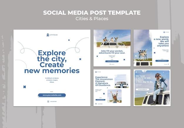 Steden en plaatsen posts op sociale media