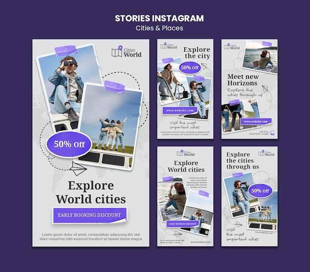 Steden en plaatsen social media verhalen
