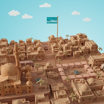 Steden werelddag 3d-model met mock-up