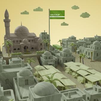 Steden werelddag 3d-model mock-up