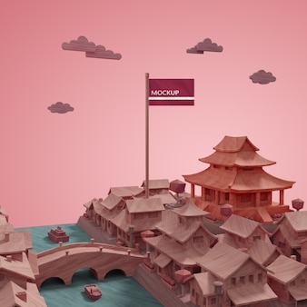 Steden werelddag gebouwen modelconcept met mock-up