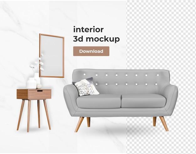 Stel interieur van decoratie interieurdecoratie in 3d-rendering