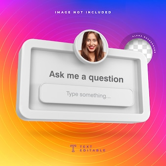 Stel me een vraag frame 3d sociale media