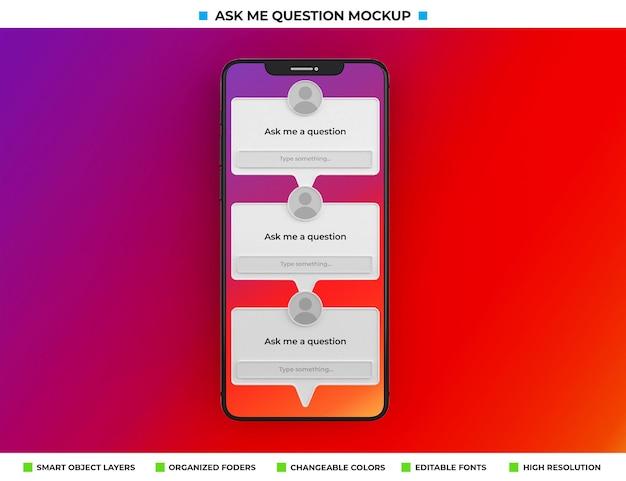 Stel me een vraag instagram filter mockup geïsoleerd op het telefoonscherm