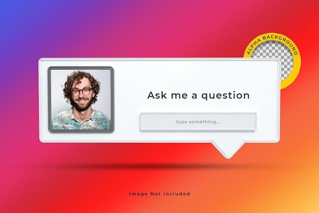 Stel me een vraag interface frame 3d-rendering op instagram sociale media