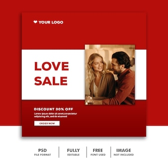 Stel valentine banner social media post instagram love sale