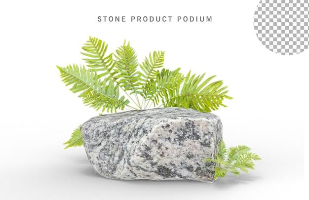 Stenen podium voor weergaveproduct op groene bladeren, png