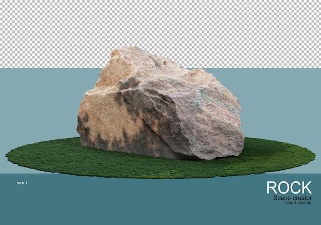 Stenen van verschillende groottes op het gazon