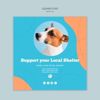 Steun uw lokale shelter vierkante flyer