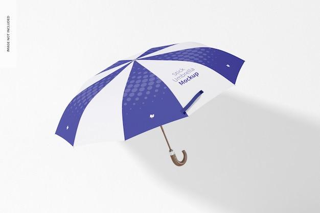 Stick paraplu mockup, bovenaanzicht