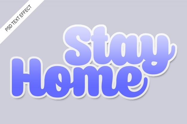 Sticker teksteffect blijf thuis