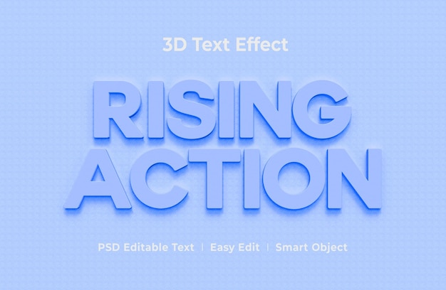 Stijgende actie 3d-teksteffect mockup-sjabloon
