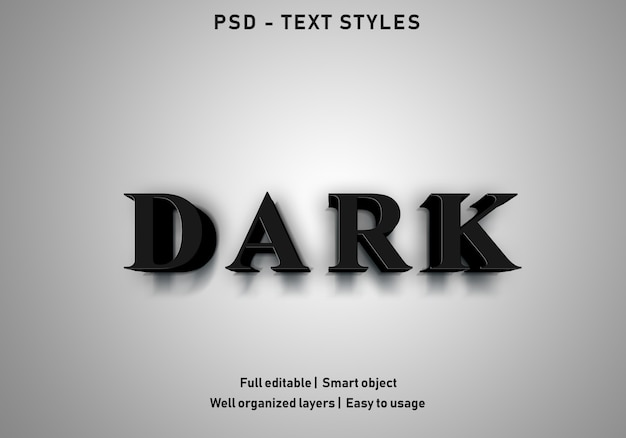 Stijl van donkere tekst effecten bewerkbare psd