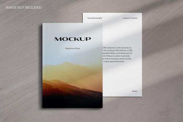 Stijlvolle minimalistische mockup voor tijdschrift met schaduwoverlay