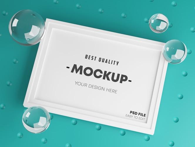 Stijlvolle mock up poster frame sjabloon. frisse en minimalistische 3d-weergave. turquoise achtergrond