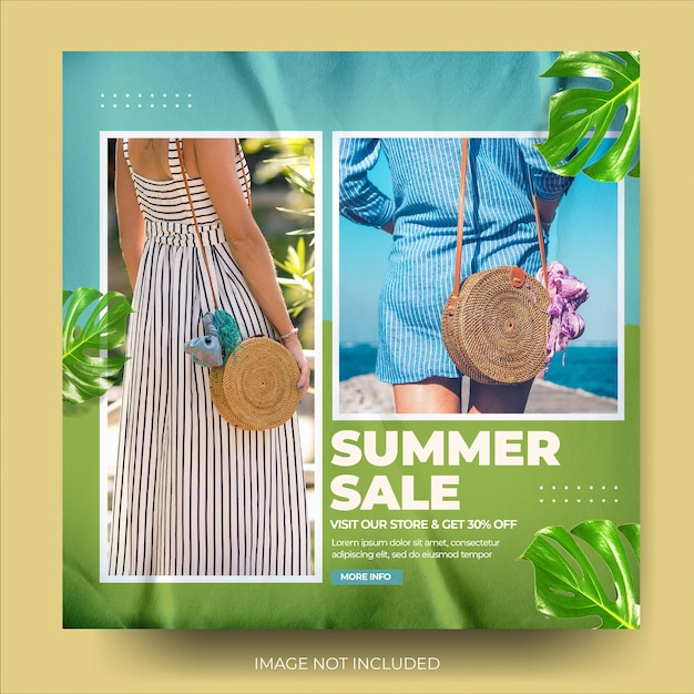 Stijlvolle mode zomerverkoop instagram postfeed