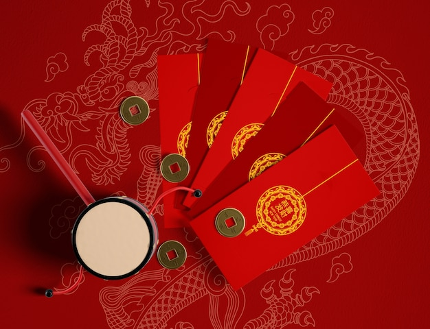 Stile cinese delle cartoline d'auguri del buon anno