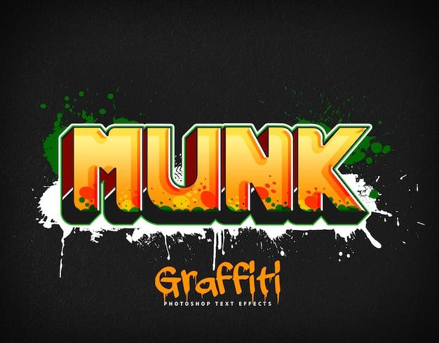 Stile del livello psd degli effetti di testo graffiti