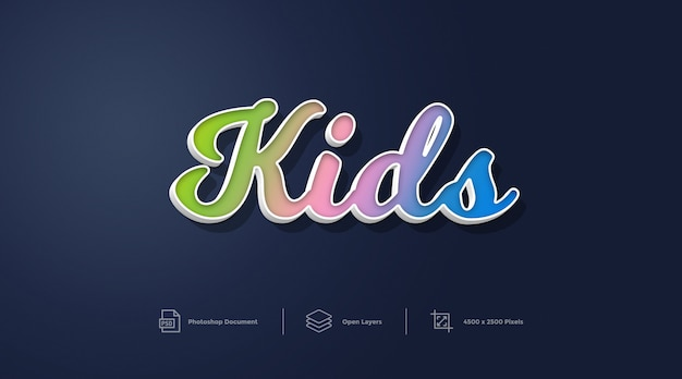 Stile di bambini effetto testo design effetto stile photoshop livello