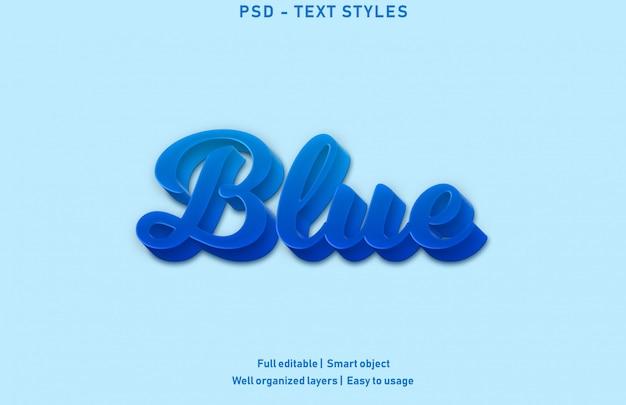 Stile di effetti di testo blu premium modificabile